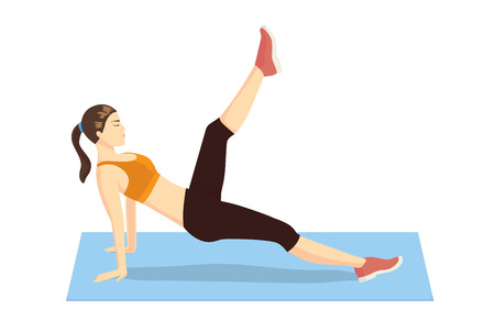 floor mat: Woman doing Pilates exercises with lying on mat and try leg pull front Illustration