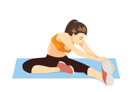 women working out: Woman sitting to cool down stretches after exercise