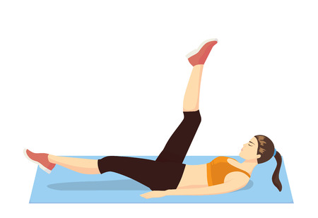 working out: Woman get rid cellulite and firming her leg with exercise in lying on exercise mat and swing leg action