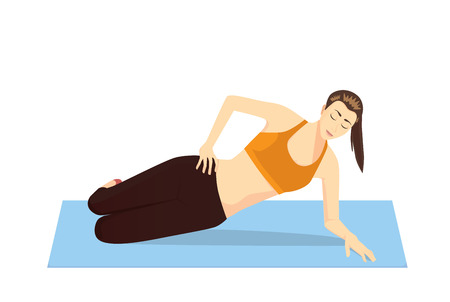 burn out: Woman doing Pilates exercises for strong side abdominals with lying side hip raises