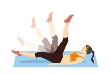 fortaleza: Mujer conseguir deshacerse de la celulitis y reafirmar su pierna con el ejercicio de la mentira en la estera de ejercicio y la acción de la pierna columpio
