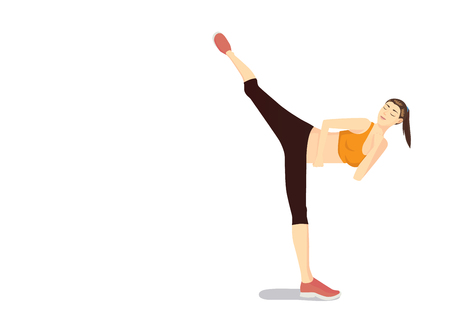kick out: Woman doing Body Combat workout with high kick movement Illustration