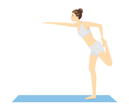 bend: Woman doing exercise with Yoga on blue mat. her want body balance and beauty shape
