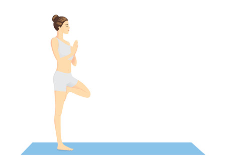 Woman beginning in Yoga with Tree Pose or Vrksasana on blue exercise mat in side view. This pose is performed to warm up.