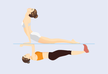 woman lying down: Similar exercises posture of Yoga and Pilates. Refers to the differences and similarities at the same time. This illustration about health care concept with workout.