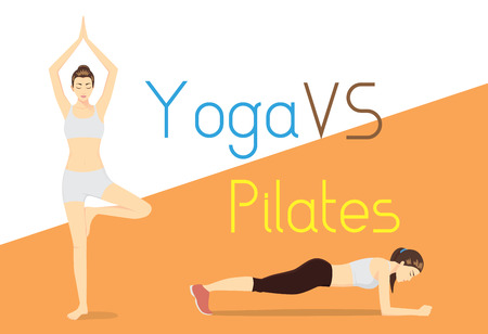 woman lying down: Compare of difference exercise with yoga and Pilates. Health care concept. Illustration