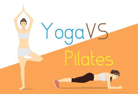 egészségügyi ellátás: Compare of difference exercise with yoga and Pilates. Health care concept. Illusztráció