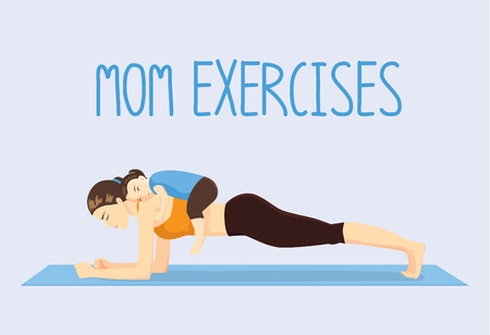 woman hard working: Mother doing abdominal exercises on blue mat by daughter lying on her back. Healthy lifestyle concept Illustration