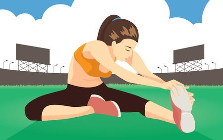 cool down: Mujer enfr�e estiramientos en campo despu�s de correr en el estadio para Prevenir dol�a la pierna