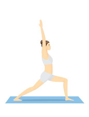 bend: Woman doing yoga workout on blue mat in warrior posture.