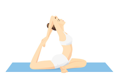 out of use: Woman doing exercise with Yoga. She use hand pull her foot and bending her leg from back side Illustration