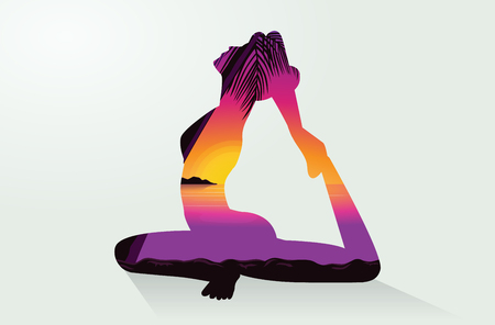 beginning: Double exposure of woman doing Yoga postures and sea at the sunset time