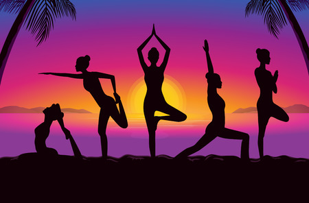 Women group posing in yoga posture in seaside at the sunset time