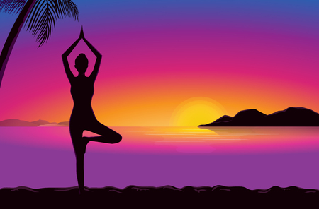 yoga sunset: Woman doing exercise with yoga in seaside at the sunset time