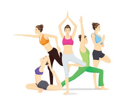 mujer cuerpo completo: Grupo de mujeres de la belleza en ropa deportiva posando diferente postura de yoga