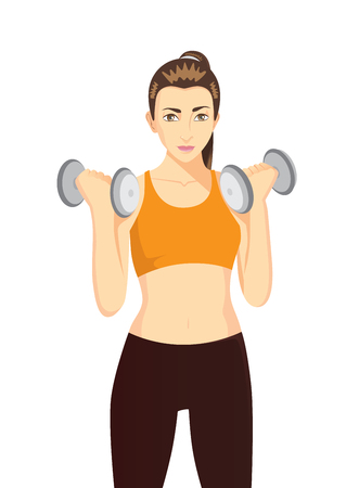 burn out: Women doing dumbbells exercises for health and beauty. Healthy character cartoon on isolated.