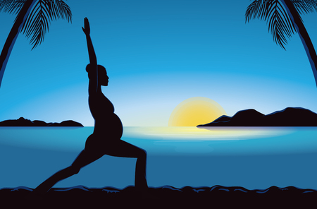 pregnancy yoga: Silhouette of pregnancy woman doing exercise with yoga in seaside at the sunset time for good prenatal.