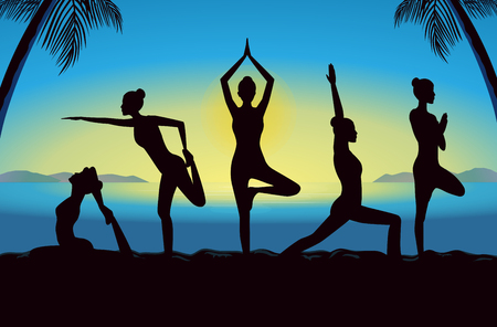 yoga sunset: Silhouette of beauty women group in sportswear posing different yoga posture. This illustration design in blue theme. Illustration