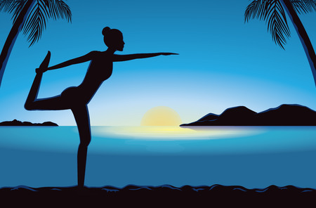 Silhouette of women exercise with yoga in seaside at the sunset time. This illustration meaning to peaceful feeling of yoga. Illustration