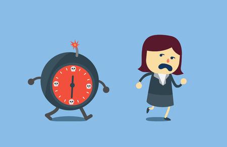 calavera caricatura: Plazo Empresaria lejos de bomba de tiempo que le persigue. Esta ilustraci�n es decir, la fecha l�mite en el trabajo. Vectores