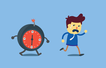 run away: Businessman run away from bomb time which chasing him. This illustration meaning to deadline in work.