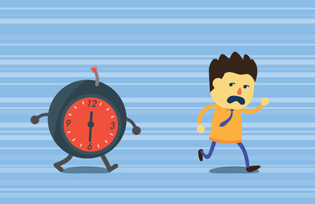 deadline: Businessman run away from bomb time which chasing him on hurry feeling background. This illustration meaning to deadline in work. Illustration
