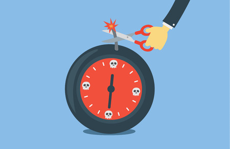 time bomb: Hand holding scissors cutting time bomb fuse to protect damage. This illustration meaning to keep deadline in work.