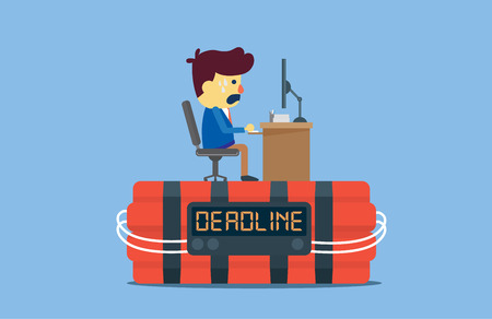 cartoon bomb: A man very stress because he working on top bomb timer and digital screen has deadline word. This illustration about work to a deadline Illustration