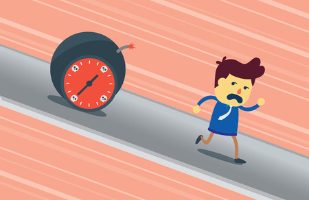 time run away: Businessman run away from bomb time which chasing him. This illustration meaning to deadline in work.