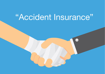 claim: Check hand of hand has first aid with bandage and hand of business . This illustration meaning to personal insurance accident coverage Illustration