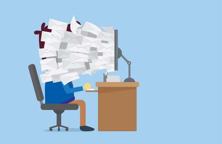 mision: Muchos de correo electr�nico fuera de la pantalla del ordenador a la cara del trabajador que ten�a que leer. Este Ilustraci�n sobre trabajo sin terminar, el orden, la venta en l�nea u otra Vectores