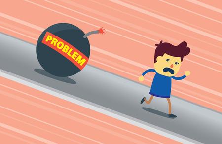 no correr: Un hombre huye de problema bomba caiga sobre él. Esta ilustración significado un hombre es un cobarde que no podía hacer frente a un problema.