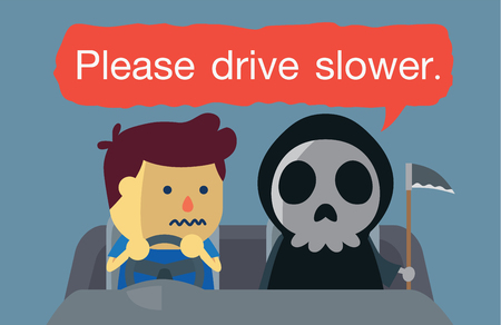 cartoon accident: A man driving a car which have angel of death sitting with him and then speaking  Please drive slower. This illustration about danger of driving fast.