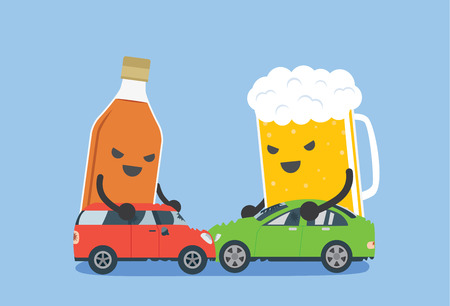cartoon accident: Alcohol and beer push a 2 car to make accident. This illustration meaning to drunk to driving which cause of car accident. Illustration