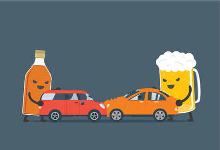 motors: Alcohol and beer push a 2 car to make accident. This illustration meaning to drunk to driving which cause of car accident. Illustration