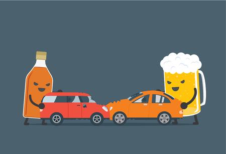 carritos de juguete: El alcohol y la cerveza empujan un coche 2 para hacer accidente. Esta ilustraci�n que significa borracho para conducir, que causa de accidente de coche. Vectores