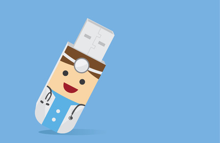 Doctor cartoon has body was USB drive. This picture refer to computer treat program in flash drive as you have doctor of computer to check and treat health computer. Иллюстрация