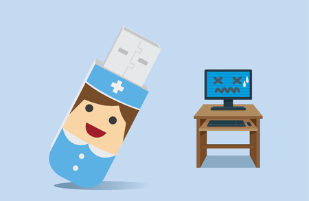 computer health: Nurse character has body like a USB drive at front side of computer is not working on desk. This illustration meaning to computer health care program in USB drive like a Computer Nurse is assistant Illustration