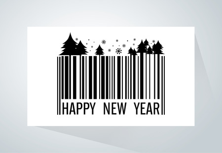 paper product: Barcode merge with Christmas theme and wording Happy New Year on white paper . This illustration meaning to new product, Christmas Sale, marketing and other same this. Illustration