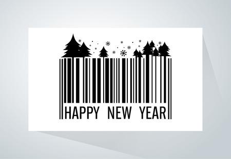 """codigo barras: C�digo de barras se funden con tema de la Navidad y el texto """"Feliz A�o Nuevo"""" en papel blanco. Esta ilustraci�n es decir, a nuevos productos, venta de la Navidad, la comercializaci�n y la otra esta misma."""