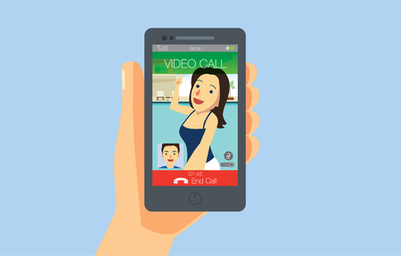 send: Hand holding smart phone which on screen showing video call from girlfriend. Illustration