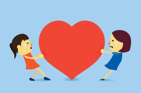 flurry: Two woman try to get same heart. This illustration meaning to a love problem Illustration