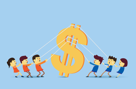 Two people group playing tug of war for big money symbol. Illustration about business competition concept.