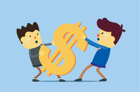to try: Two man try to get same money. This illustration meaning to conflict of business interest Illustration
