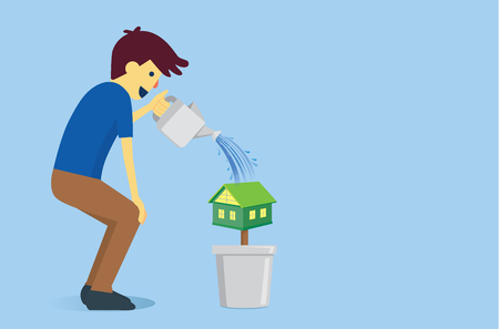 watering pot: Man watering a house in flowerpot with water from watering pot. This illustration is concept about dreaming to have house of people. Illustration