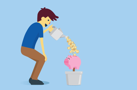 spending full: Man watering a piggy bank in flowerpot with money from watering pot. This is saving and financial planning for future.