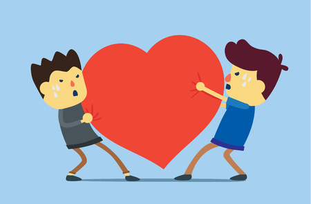 Competition of enemies hearts for get love. This illustration meaning to a love problem. Illustration