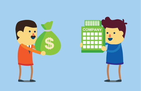 takeover: Businessman use money buy business of another. This illustration meaning to takeover in business