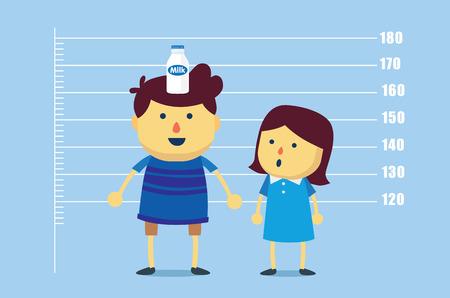 nutrientes: Boy colocar una botella de leche en la cabeza para el maquillaje incremento altura que las niñas. Esta ilustración que significa que la leche de consumo crea un chico de más rápido.