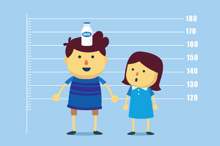 child girl: Boy place a milk bottle on head for make increase tallness than girls. This illustration meaning to drinking milk make a kid high up faster.